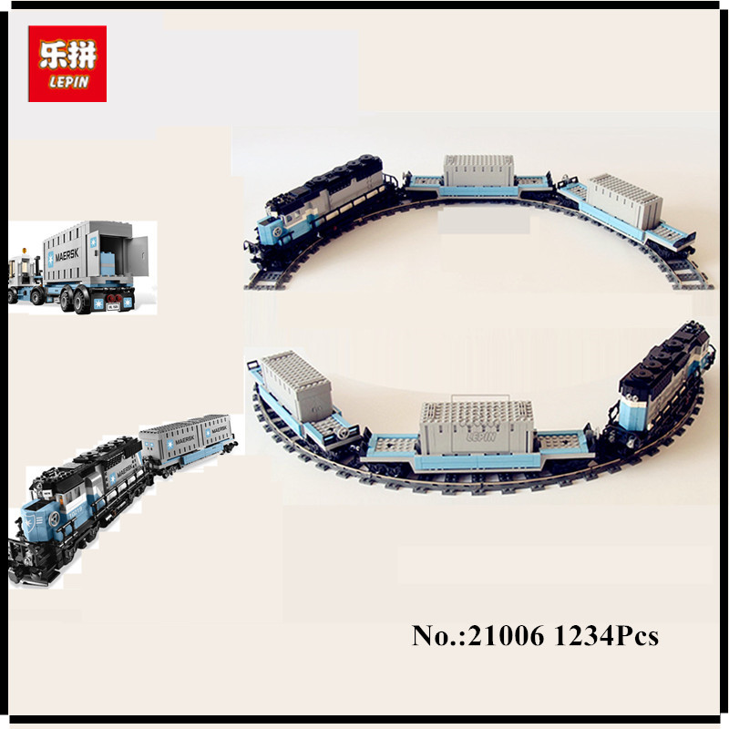 IN STOCK Lepin 21006 New 1234Pcs Genuine Technic Ultimate Series The Maersk Train Set Building Blocks Bricks Educational Toys new stock lepin 07052 batcave break in set 1047pcs genuine model moviebuilding blocks bricks educational toys boys girls 70909