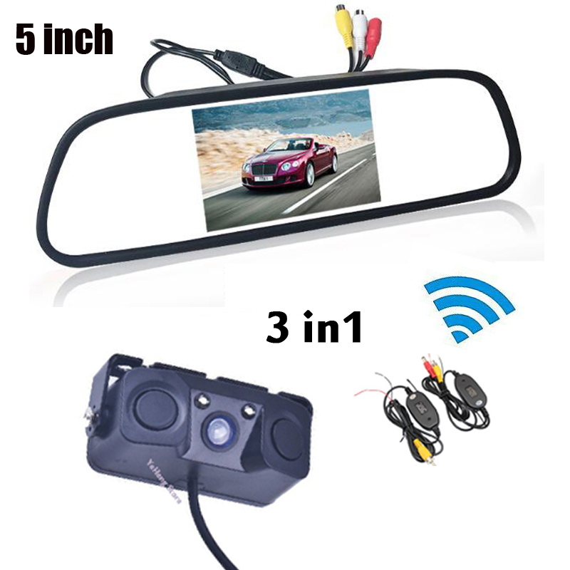 Wireless 3 in 1 HD 5 inch 800x480 Screen Car Rearview Mirror Monitor With Parking Camera + 2 Video Parking Radar 2 Sensors