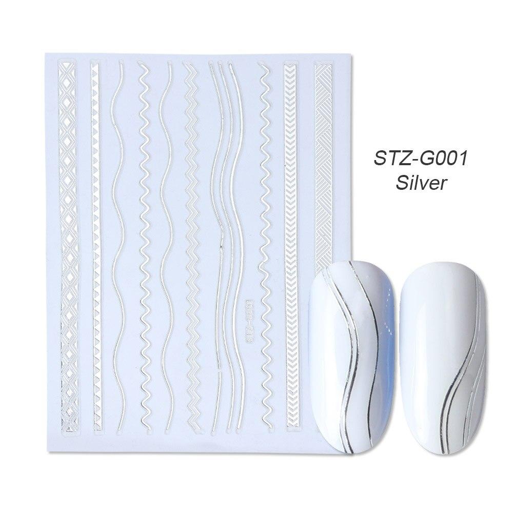 1 шт золотые Серебристые 3D наклейки для ногтей прямые изогнутые вкладыши полосы ленты обертывания геометрический дизайн ногтей украшения BESTZG001-013 - Цвет: STZ-G001 Silver