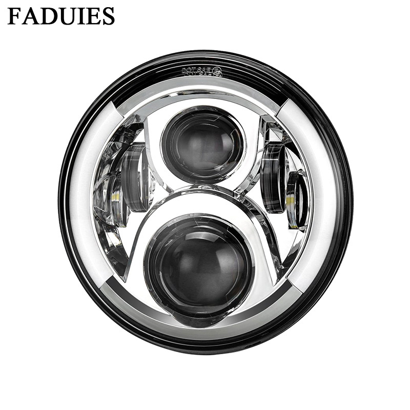 Home Faudies 7 50w Round Motorcycle Car Led Projector Headlight For Bike Motorcycle Jeep Wrangler H4 H13 Drl Hi/lo Beam Headlamp