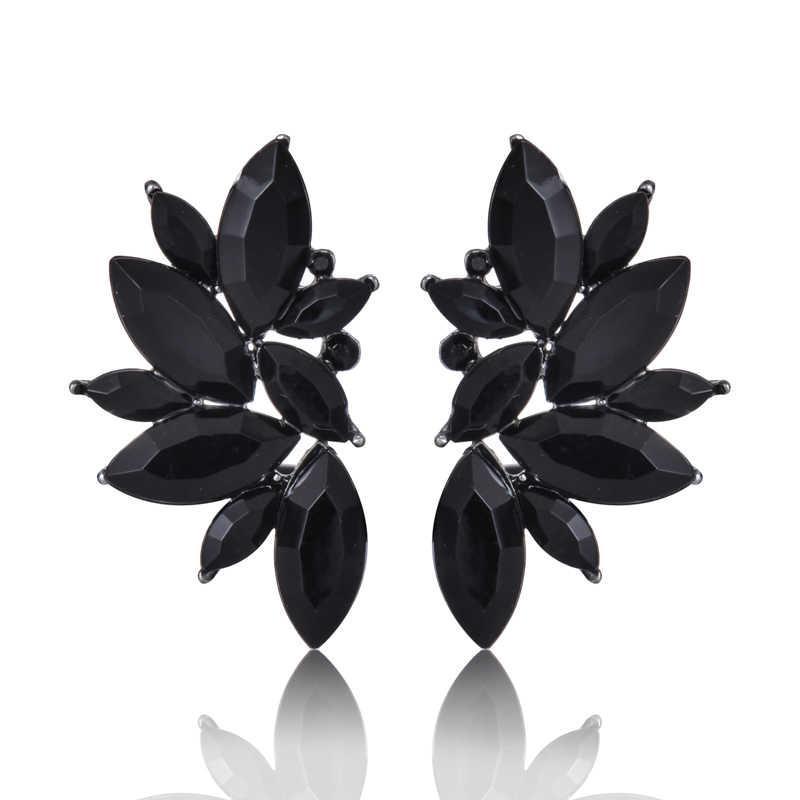 Nouvelle mode fleur verre boucle d'oreille pour les femmes noir rouge rose grand luxe goutte boucles d'oreilles pendentif cristal gemme déclaration bijoux