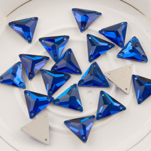3270 Triangle Capri Blue 16mm 22mm Strass Crystal Rhinestones Sew On Crystals For Clothing Glass Rhinestone