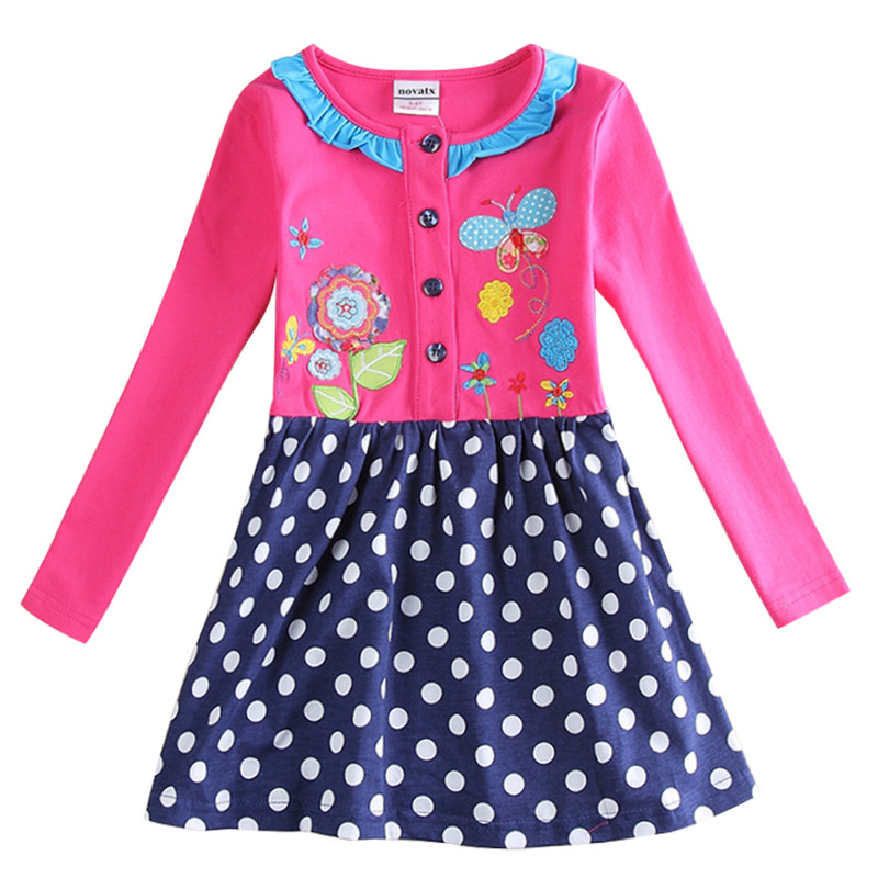 New 2015 Nova kids brand girl's dress fashion casual full sleeves spring autumn children's clothes brand new 2015 6 48 288 a154