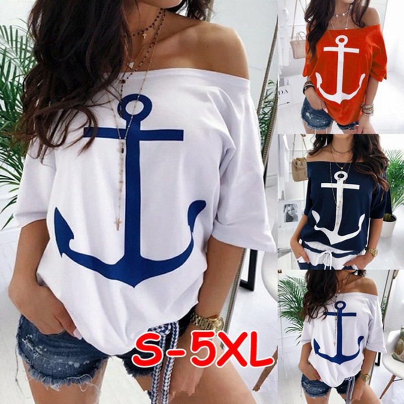 Boat Anchor Print Summer T Shirt Sexy Off Shoulder Half Sleeve Women's Casual Loose T-shirt White Red Plus Size S-5XL Tees Tops
