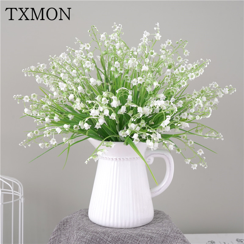 Simulation Plant Plastic Flower Spring Grass Lily Orchid Small Bouquet Fake Pot Flower Greening Decoration Home Wedding Bouquet