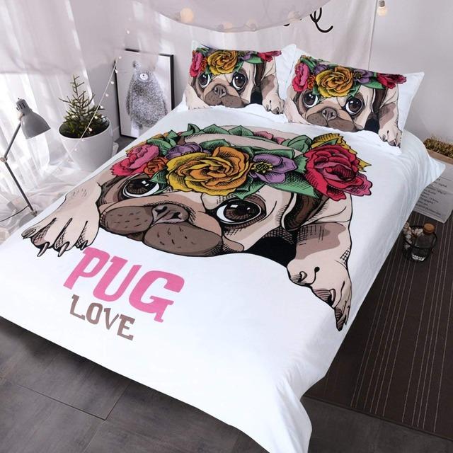 Puggy Love –  Pug Rose Bed Kawaii Duvet Cover