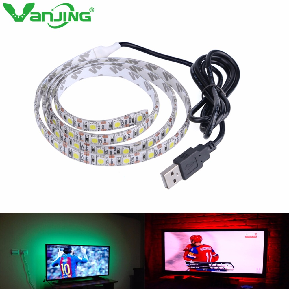 2M 60LED DC5V USB LED Strip SMD 5050 RGB Flexible Light Lamps LED Light TV Background Lighting Adhesive Tape Waterproof
