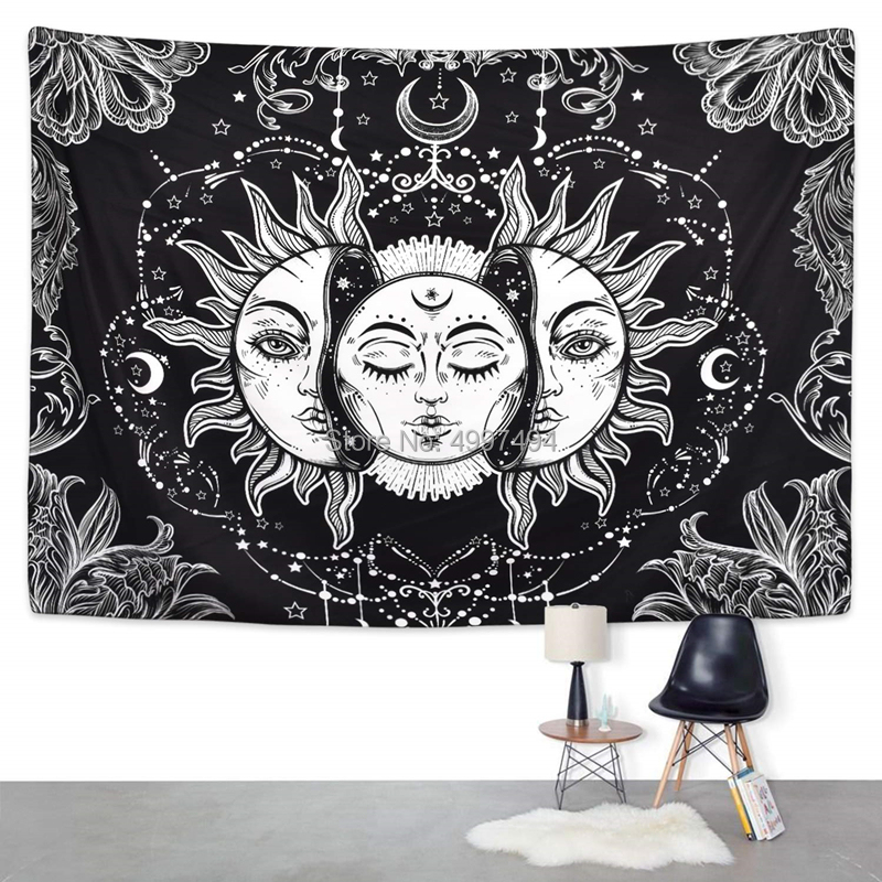 Mandala Tapestry Witchcraft Wall Hanging Boho-Decor Astrology Sun Blanket Hippie Bedroom Living Room Psychedelic Farmhouse-Decor