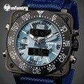 INFANTRY Mens Camo Quartz Watches Square Face Waterproof Blue Nylon Strap Wristwatch Luminous Aviator Sports Watches Relojes