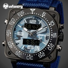 INFANTRY Mens Camo Quartz Watches Square Face Waterproof Blue Nylon Strap Wristwatch Luminous Aviator Sports Watches Relojes
