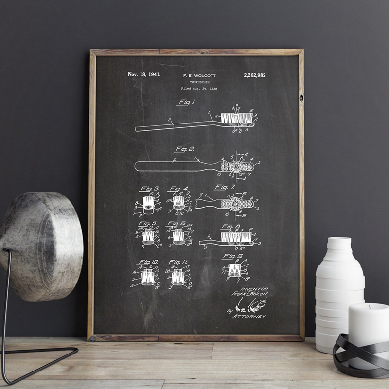 First Toothbrush Bathroom Wall Art Picture Prints Home Decor Vintage Blueprint Patent Print Drawing Poster Canvas Painting image