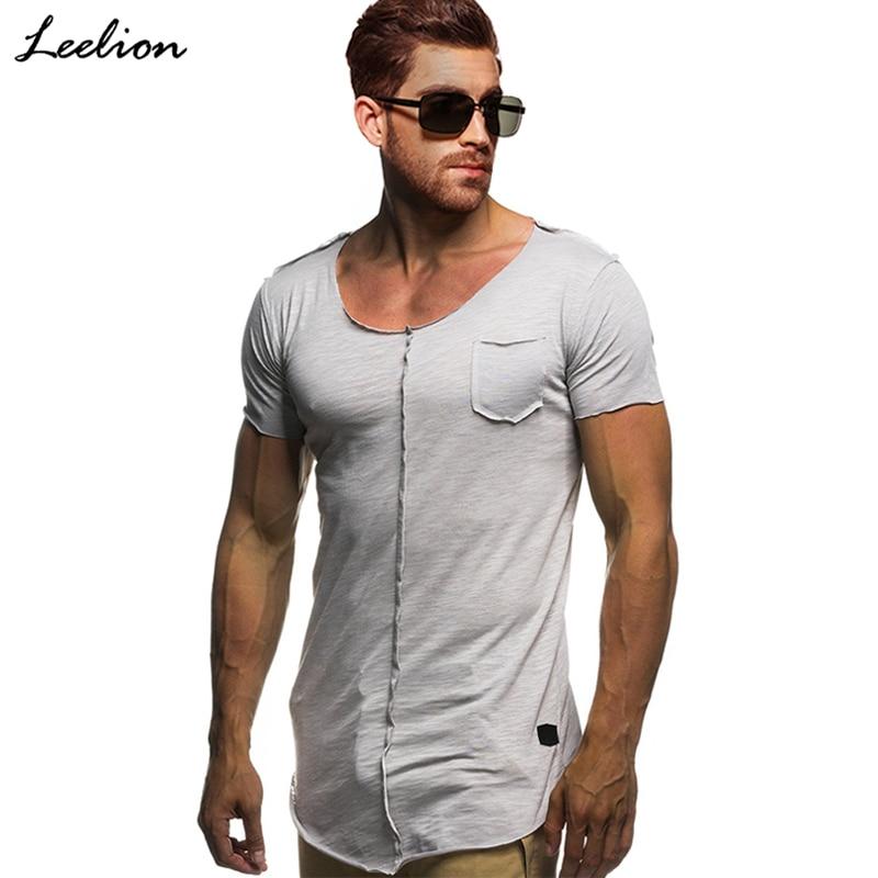 IceLion 2019 Summer Long T Shirt Men Short Sleeve Fitness T-shirt Fashion Solid Slim Fit O Neck Tshirt Men's Hip Hop Streetwear