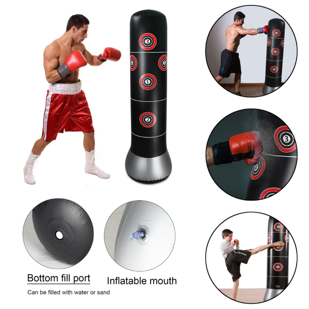 1.5m Inflatable Boxing Punching Kick Boxing Training Tumbler Bag Pressure Relief