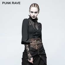 PUNK RAVE 2017 Design Women Shirts Gothic Steampunk Long Sleeve Lace Decoration Retro Blouse Shirt Chiffon Clothing Ladies Tops