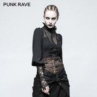 PUNK RAVE 2017 Design Women Shirts Gothic Steampunk Long Sleeve Lace Decoration Retro Blouse Shirt Chiffon