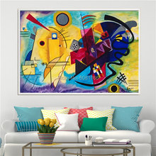 цена на Hand painted Wassily Kandinsky famous Oil Painting Modern Geometric Abstract Art RED YELLOW BLUE canvas Wall Pictures decoration