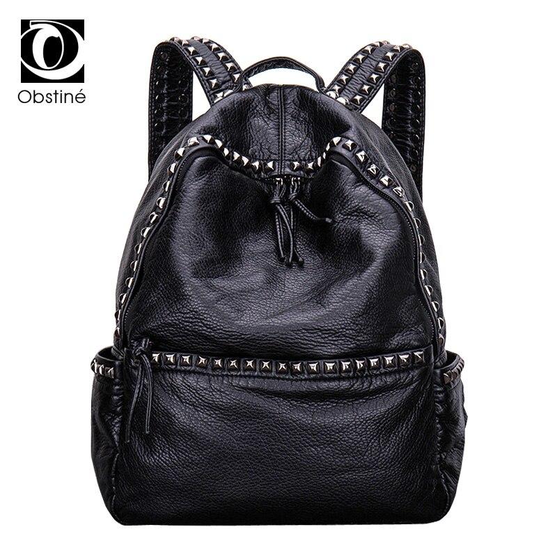 Design Soft PU Leather Rivet Backpack Women Big Travel Backpack Female Black Back Packs Travelling Bags