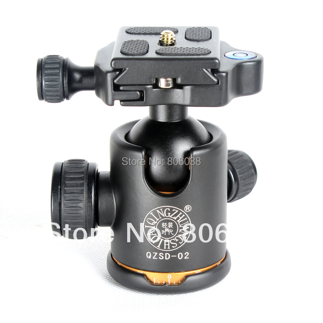 QZSD Q-02 Professional 360 Degree Panoramic Swivel Camera Tripod Ball Head with Quick Release Plate for DSLR Cameras