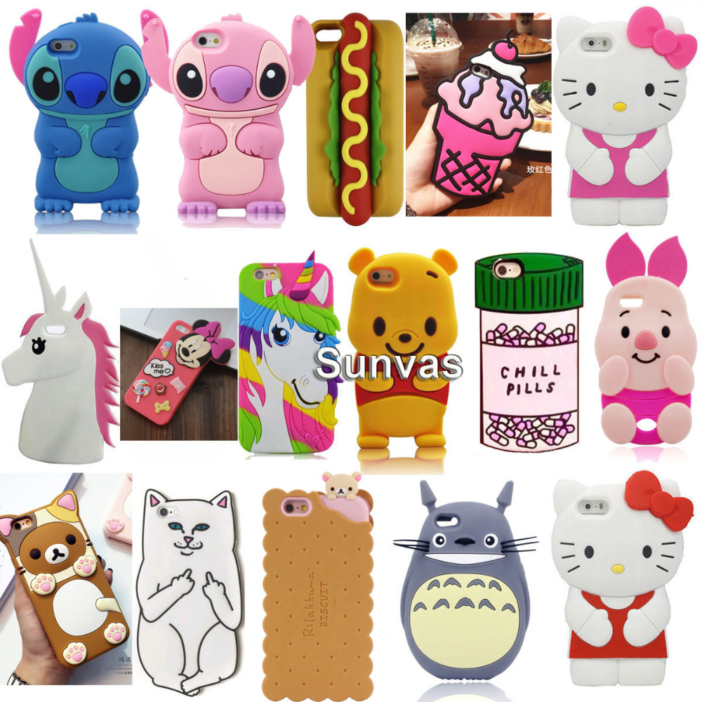 3d cartoon ice cream stitch cat soft silicone back cover for 3d decoration for phone cases