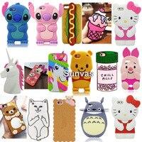3D Cartoon Ice Cream Stitch Cat Soft Silicone Back Cover For iPhone 4/4s/5/5S/5C/SE/6/6S/6 6s Plus/7/7 Plus Phone Cases Fundas
