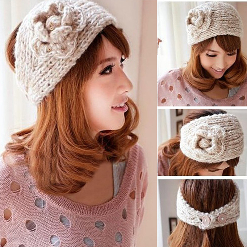 Winter Flower Crochet Knitted Headwrap Headband Hair Band