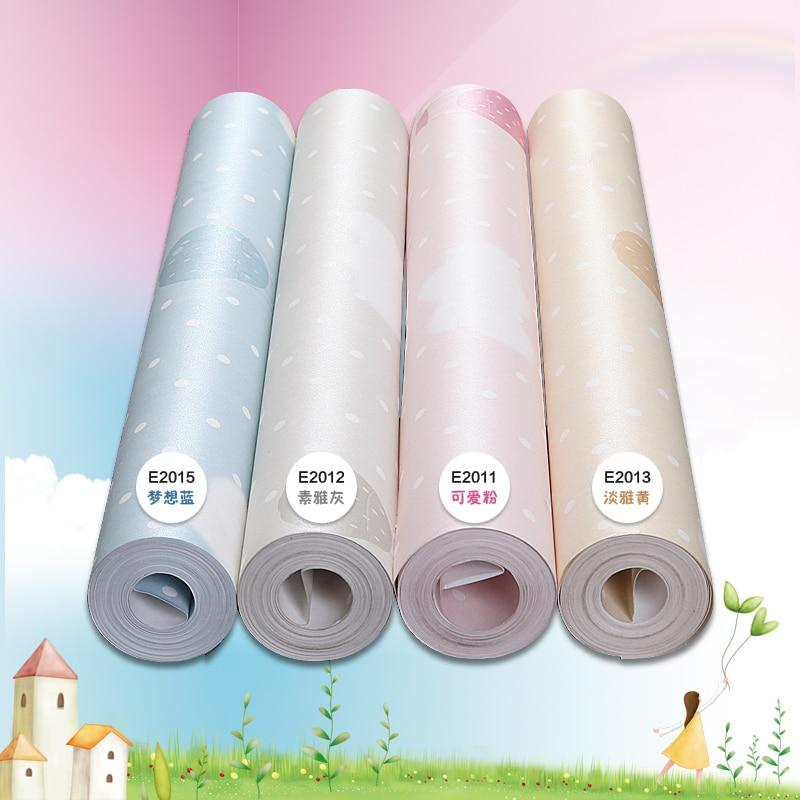 Купить с кэшбэком PAYSOTA Children Cartoon Wallpaper Nonwovens Boys Girls Bedroom Pink Yellow Gray Blue Wall paper Roll