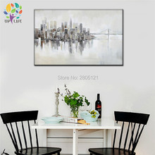 hand painted hazy white gray city landcape wall painting modern abstract morning city bridge canvas oil painting new york CITY