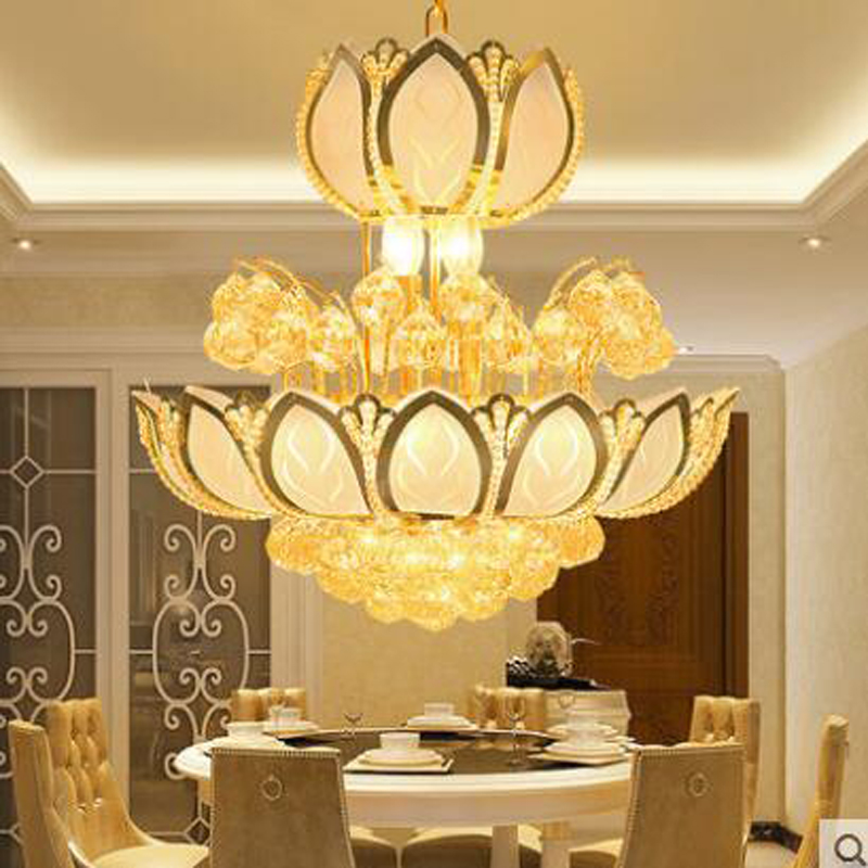 Golden LED crystal lamps dining room chandeliers modern minimalist living room creative dining room lighting lamps led lighting цена 2017
