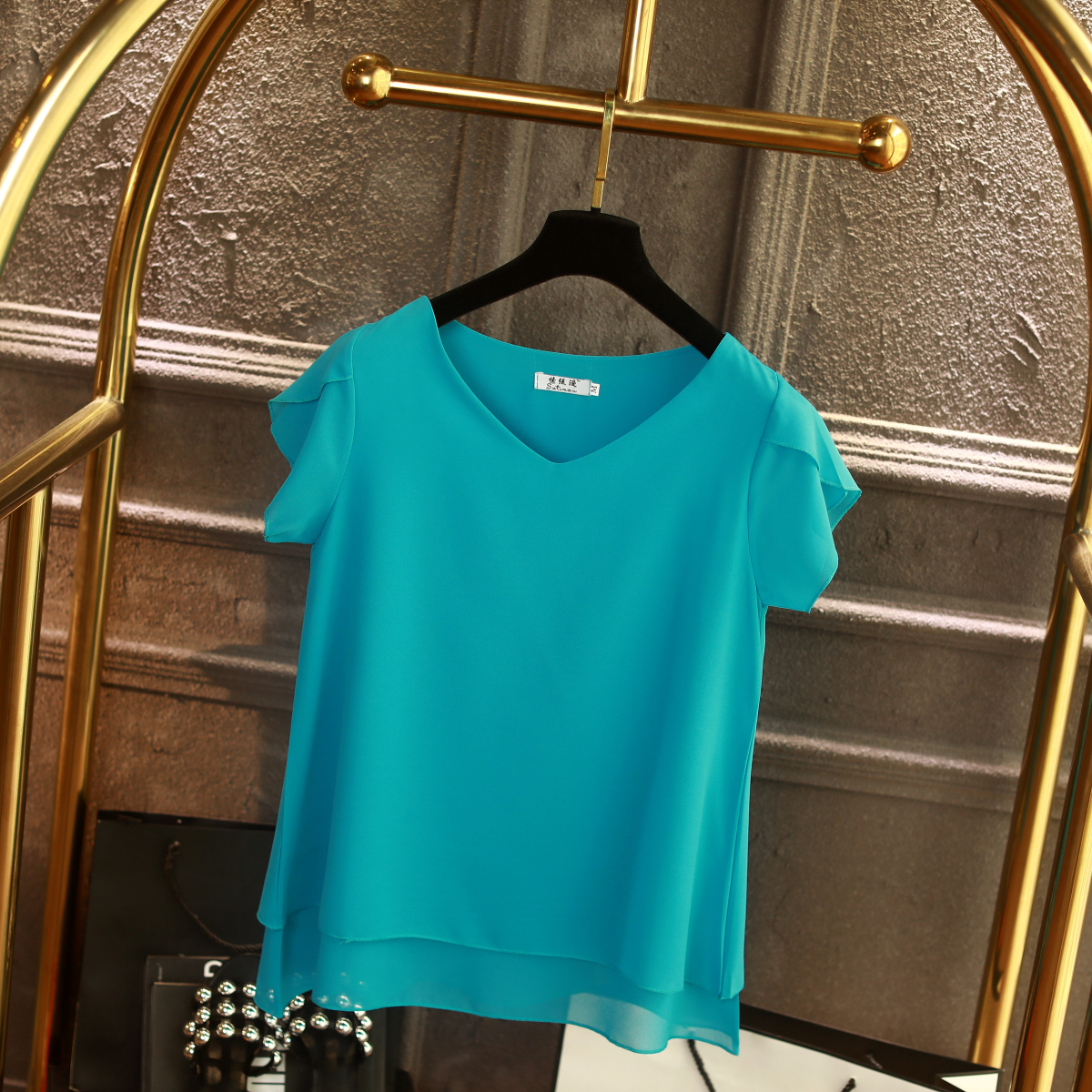 100% Original Women Chiffon Shirt 2019 Summer Short sleeve V-neck Blouse Casual 9 Solid color Loose Oversized Lady Tops 12