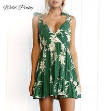 WildPinky Boho Floral Printed Dress Women Summer Green Spaghetti Strap Holiday Mini Dress Casual V Neck Backless A Line Vestidos floral boho dress a line v neck sexy spaghetti strap mini dress vestidos de fiesta ruffle hem floral dress sukienki vestidos