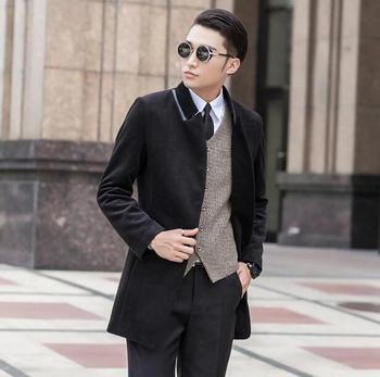 Hot sell ! Black long sleeve medium-long wool coat men jackets and coats mens slim wool winter single breasted trench coats 9XL