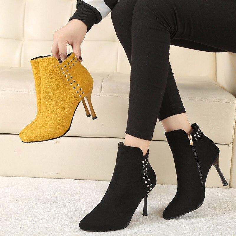 4f6c9c83644 2019 Women Ankle Fashion Boots Side Zipper Sharp Head Thick High ...