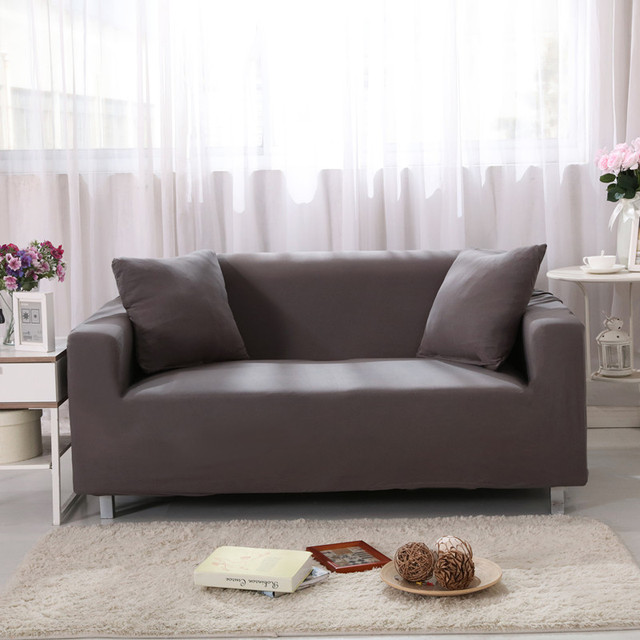 Non slip Solid Color Grey Red Brown Cotton Sofas Slipcovers Stretch ...