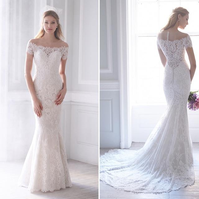 Elegant Long Lace Mermaid Wedding Dresses With Sleeves Sheer ...