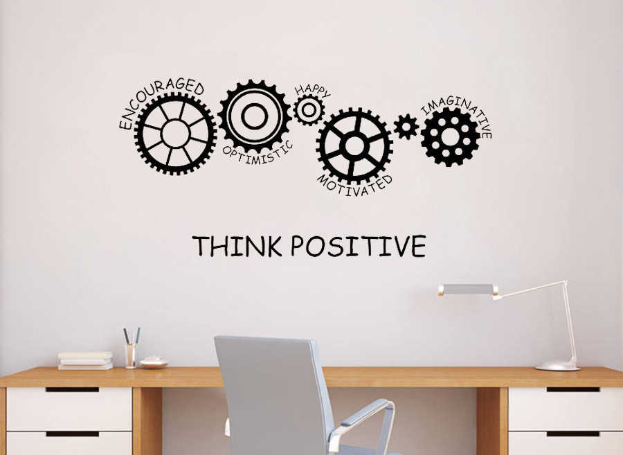 Motivational Vinyl Wall Decal Quote Think Positive Office Space Decor Art Gears Words Interior Stickers Mural Home Decorate D352 Aliexpress