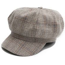 HT2539 Vintage Plaid Men Women Cap Artist Painter Hat Fashion Beret Korea Style Ladies Octagonal Newsboy