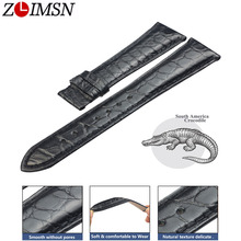 ZLIMSN Black Crocodile Leather Strap Fashion Circle Pattern Hand Stitched Luxury Quality Men and Women Watch Band 12mm 26mm
