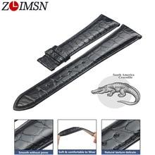 ZLIMSN siyah timsah deri kayış moda daire desen el dikişli lüks kaliteli erkek ve kadın saat kayışı 12mm 26mm