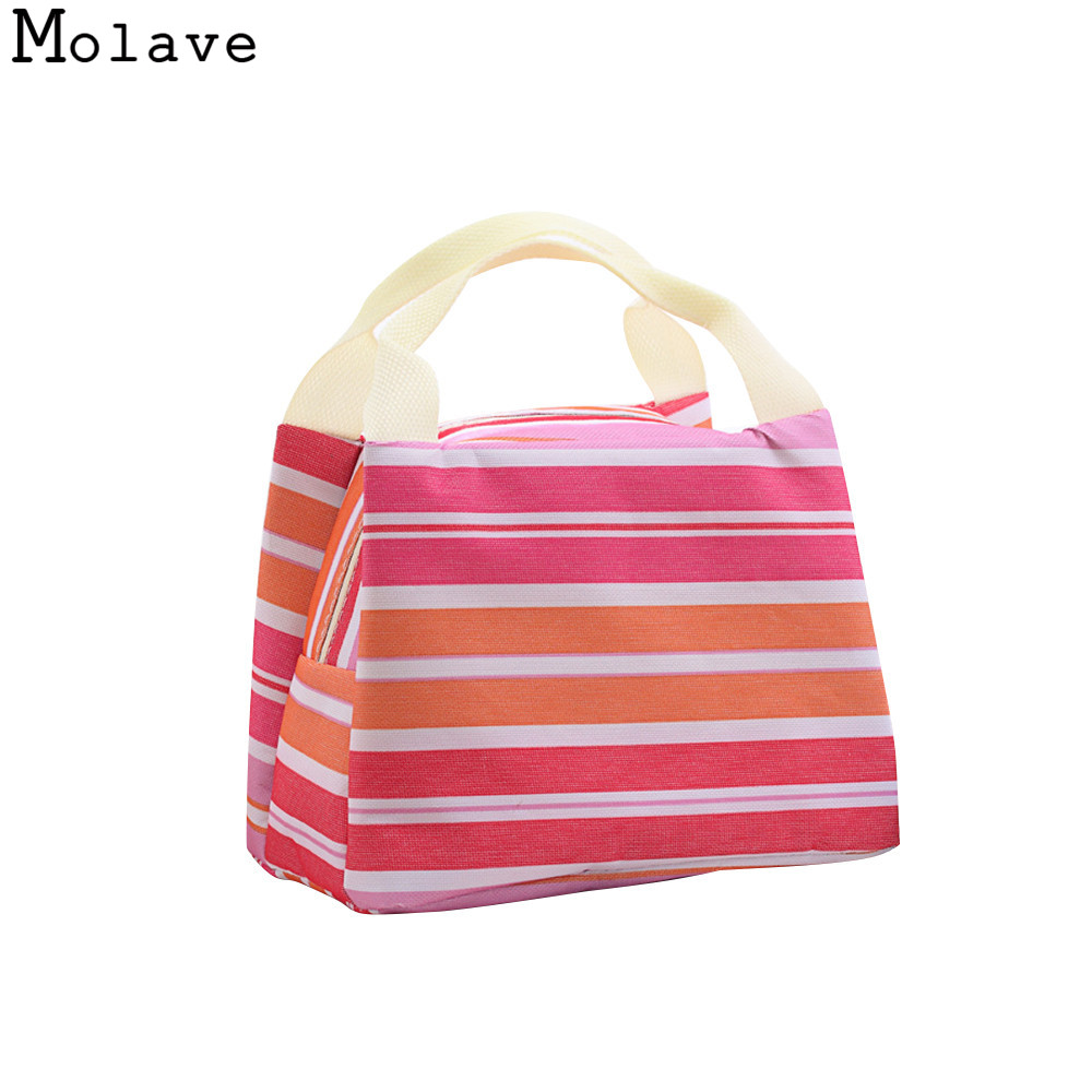 Striped Cold Insulation Bag Ice Pack portable Lunch Tote Bag Travel School Zipper Picnic Lunch Bag OCTT06 цена 2017