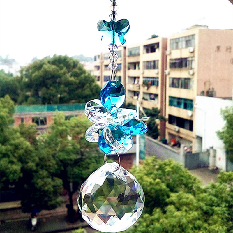 Garland Chakra Spectra 1PCS Aque color crystal glass suncatcher pendants for home decoration,christmas tree hanging drops