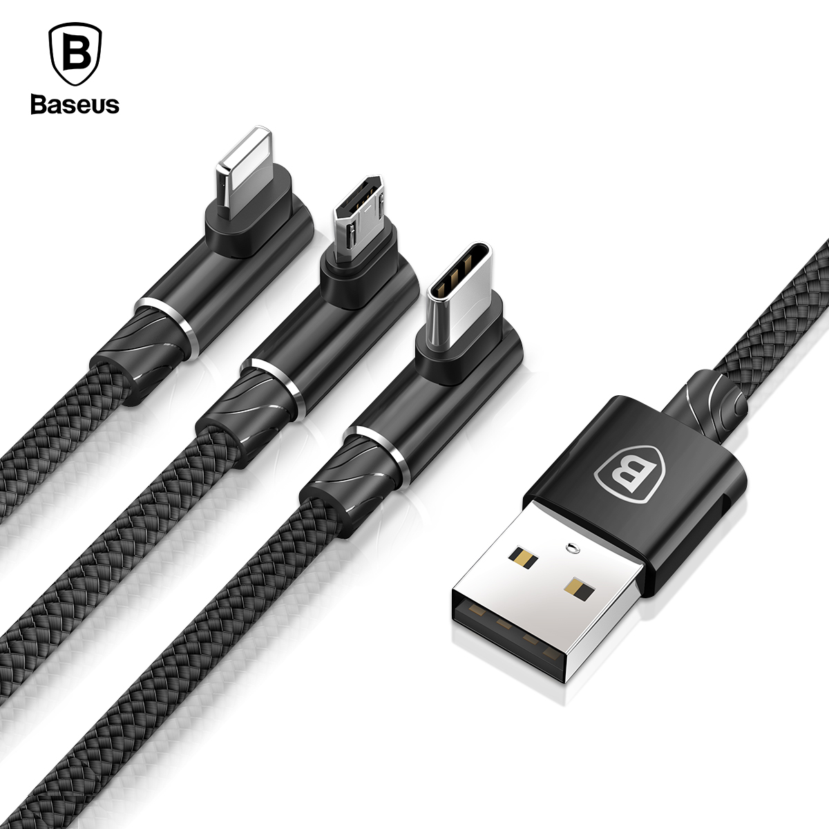 Baseus 90 Degree USB Cable For iPhone X 8 7 6 Charging Charger Wire Cord 3 in 1 Micro USB Cable Type-c USB Type C Cable Adapter