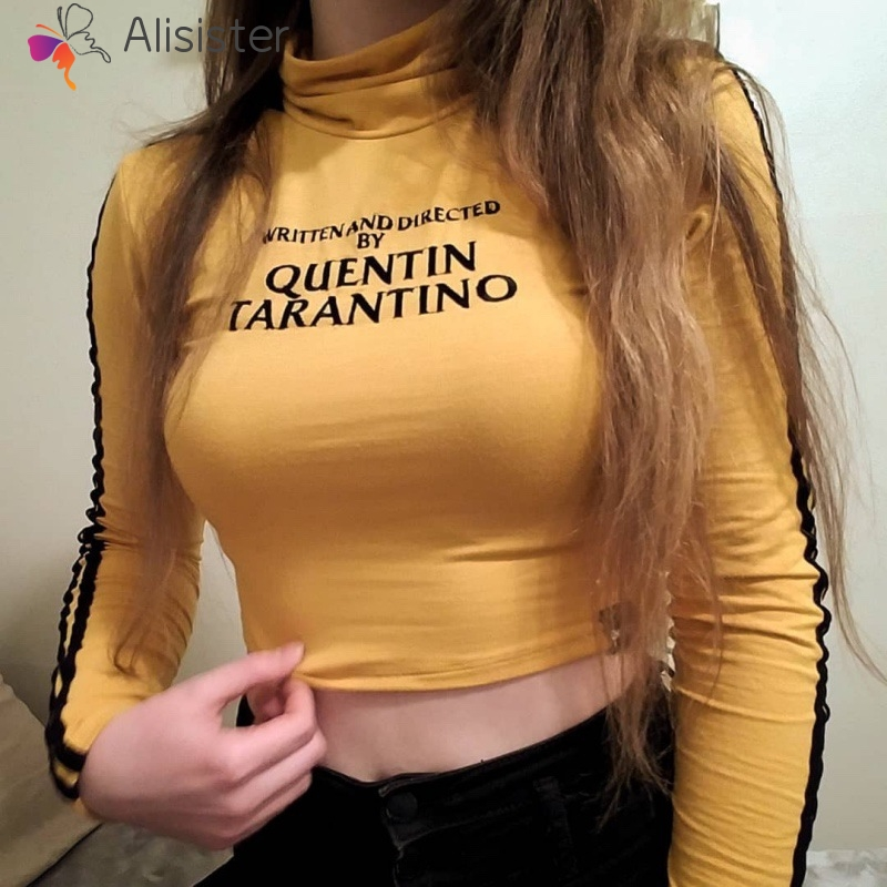 Fashion Quentin Tarantino Letters Print Sexy Crop Tops Women Side Stripe Long Sleeve Turtleneck Cotton Knitted Short T Shirt