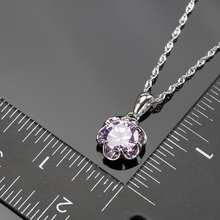 2018 New Round Purple Zircon Silver 925 Costume Bridal Jewelry Sets Pendant Necklace Chain Rings Earrings Set Jewellery Gift Box