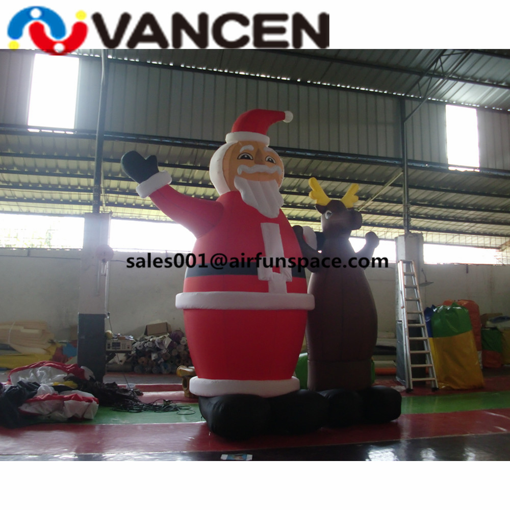 Merry Рождество надувные игрушки 3mH надувной Санта Клаус с оленем открытый украшения надувной Рождественский олень - 3