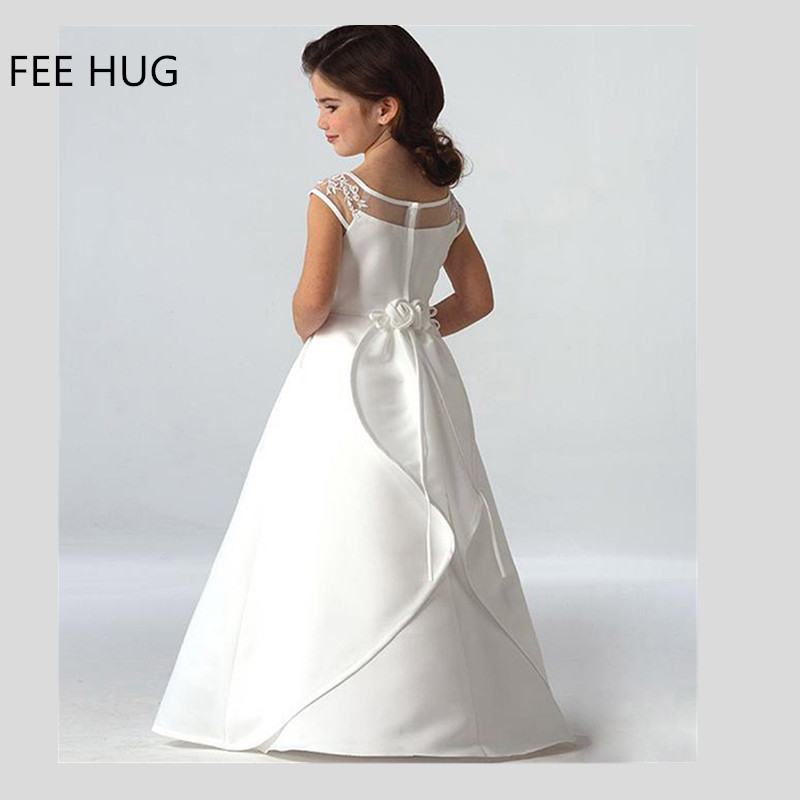 2017 Girl s Wedding Dress Elegant Short Sleeve White Party Dress For Girls Children Thin Floor
