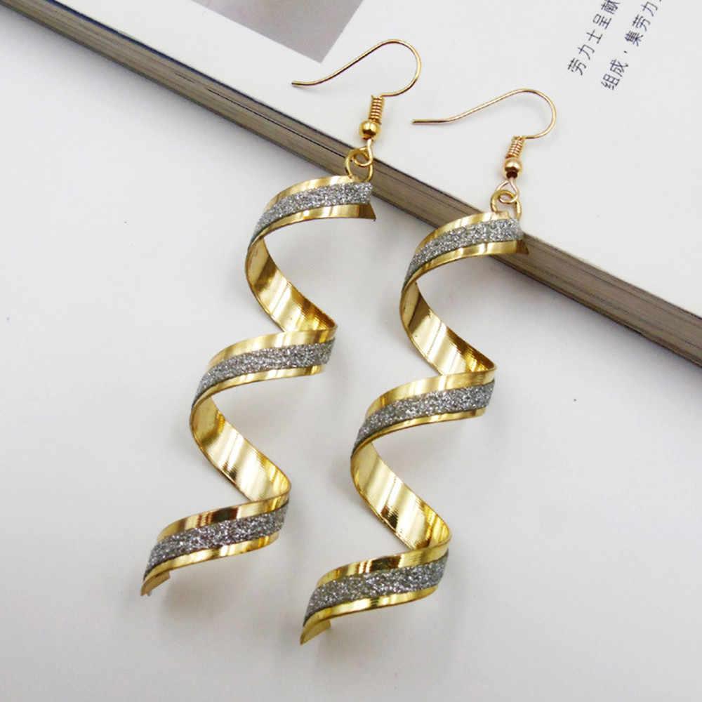 Twist เกลียวต่างหู Dangle ต่างหูเครื่องประดับ Charm เงินทองสีดำยาว Earrin11.26
