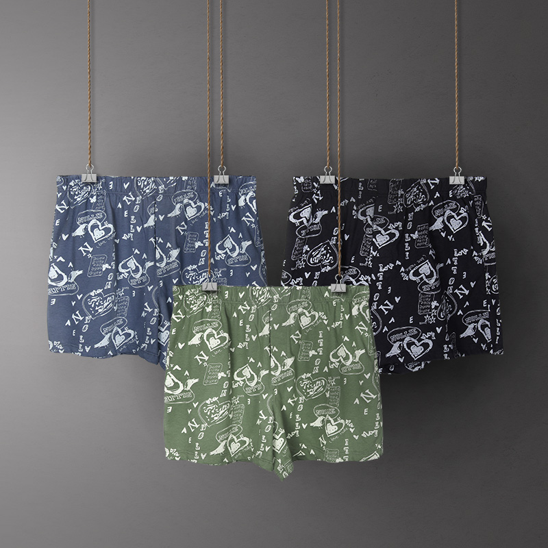 3 Pack Classic Mens Boxers Cotton Mens Underwear Trunks Woven Homme Arrow Panties Boxer Elastic Waistband Shorts men OverSize