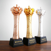Crown Shaped Resin Gold Plating Trophy With Crystal Base For Athletics Champions Award Cup Trophy Sport Souvenir R1676
