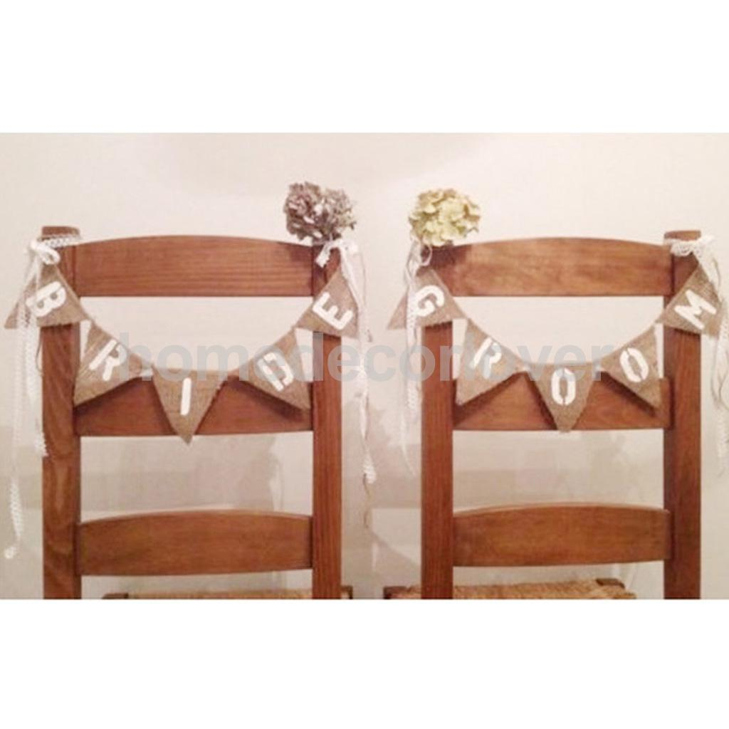 Us 4 29 20 Off Vintage Hessian Burlap Rustic Wedding Bride Groom Mini Chair Bunting Banner Shabby Chic Sign Decor In Party Diy Decorations From Home