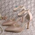 Wedopus  Custom Handmade Crystal Shoes Women Wedding Shoes for Bride Nude Satin